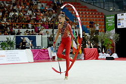 July 28, 2018 - Chieti, Abruzzo, Italy - Rhythmic gymnast Vlada Nikolchenko of Ukraine performs her ribbon routine during the Rhythmic Gymnastics pre World Championship Italy-Ukraine-Germany at Palatricalle on 29th of July 2018 in Chieti Italy. (Credit Image: © Franco Romano/NurPhoto via ZUMA Press)