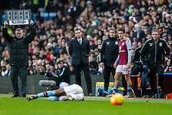 Aston Villa Manager Remi Garde prepares to bring on substitute Jack Grealish - Mandatory byline: Rogan Thomson/JMP - 13/12/2015 - FOOTBALL - Villa Park Stadium - Birmingham, England - Aston Villa v Arsenal - Barclays Premier League.