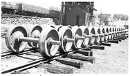 Wheel sets at Durango west of the coaling tower.<br /> D&RGW  Durango, CO  Taken by Maxwell, John W. - 1949