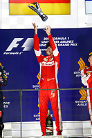 VETTEL sebastian (ger) ferrari sf15t ambiance portrait   podium ambiance    during the 2015 Formula One World Championship, Singapore Grand Prix from September 16th to 20th 2015 in Singapour. Photo Frederic Le Floc'h / DPPI