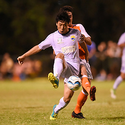 BRISBANE, AUSTRALIA - FEBRUARY 10: Uryu Nagata of United and Mirza Muratovic of the Roar compete for the ball during the NPL Queensland Senior Mens Round 2 match between Gold Coast United and Brisbane Roar Youth at Station Reserve on February 10, 2018 in Brisbane, Australia. (Photo by Football Click / Patrick Kearney)