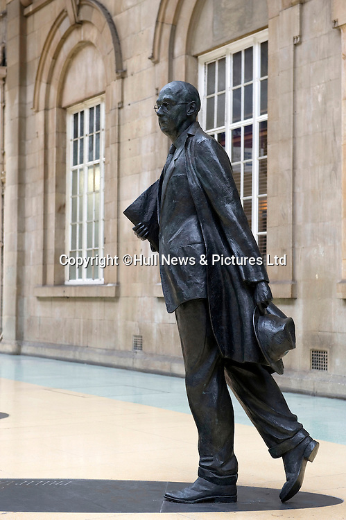 14 March 2014: Visit to Hull by Alan Davey, Chief Executive of the Arts Council.<br /> Pictured is the Larkin Staue at Paragon Station.<br /> Picture: Sean Spencer/Hull News & Pictures Ltd<br /> 01482 772651/07976 433960<br /> www.hullnews.co.uk   sean@hullnews.co.uk