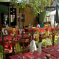 South America, Argentina, Buenos Aires. Outdoor patio dining in La Boca.