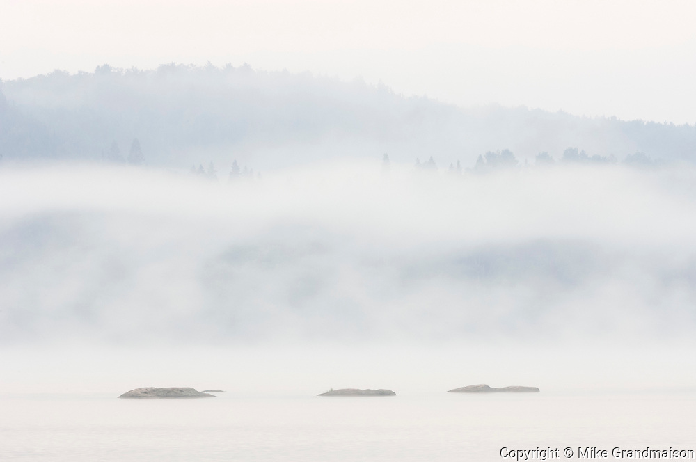 Fog on Lake of Two Rivers<br />Algonquin Provincial Park<br />Ontario<br />Canada