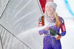 19.01.2018, Olympia delle Tofane, Cortina d Ampezzo, ITA, FIS Weltcup Ski Alpin, Abfahrt, Damen, im Bild Mikaela Shiffrin (USA, 3. Platz) // 3nd placed Mikaela Shiffrin of the USA during the Winner Award Ceremony of ladie' s downhill of the Cortina FIS Ski Alpine World Cup at the Olympia delle Tofane course in Cortina d Ampezzo, Italy on 2018/01/19. EXPA Pictures © 2018, PhotoCredit: EXPA/ Dominik Angerer