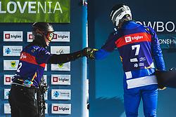 Dmitry Loginov (RUS) and Aaron March (ITA) during parallel giant slalom FIS Snowboard Alpine world championships 2021 on 1st of March 2021 on Rogla, Slovenia, Slovenia. Photo by Grega Valancic / Sportida