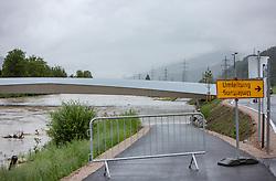 29.07.2019, Zell am See, AUT, Hochwasser in Oesterreich, Salzburg, im Bild der überflutete Radweg unter der Barackenwirt-Brücke ist wegen Hochwasser gesperrt, aufgenommen am 29. Juli 2019, Zell am See, Österreich // Zell am See, AUT, high water in Austria, Salzburg, in the picture the flooded cycle path under the Barackenwirt-Bridge is closed due to high water Zell am See, Austria on 2019/07/29. EXPA Pictures © 2019, PhotoCredit: EXPA/Stefanie Oberhauser