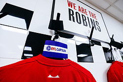 Black armbands hang in the Bristol City changing room in tribute to the Afobe family following the passing of Benik Afobe's baby daughter Amora aged 2 - Rogan/JMP - 07/12/2019 - Craven Cottage - London, England - Fulham v Bristol City - Sky Bet Championship.