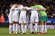 Leeds United players get together ahead of the EFL Cup match between Leicester City and Leeds United at the King Power Stadium, Leicester, England on 24 October 2017. Photo by Jon Hobley.