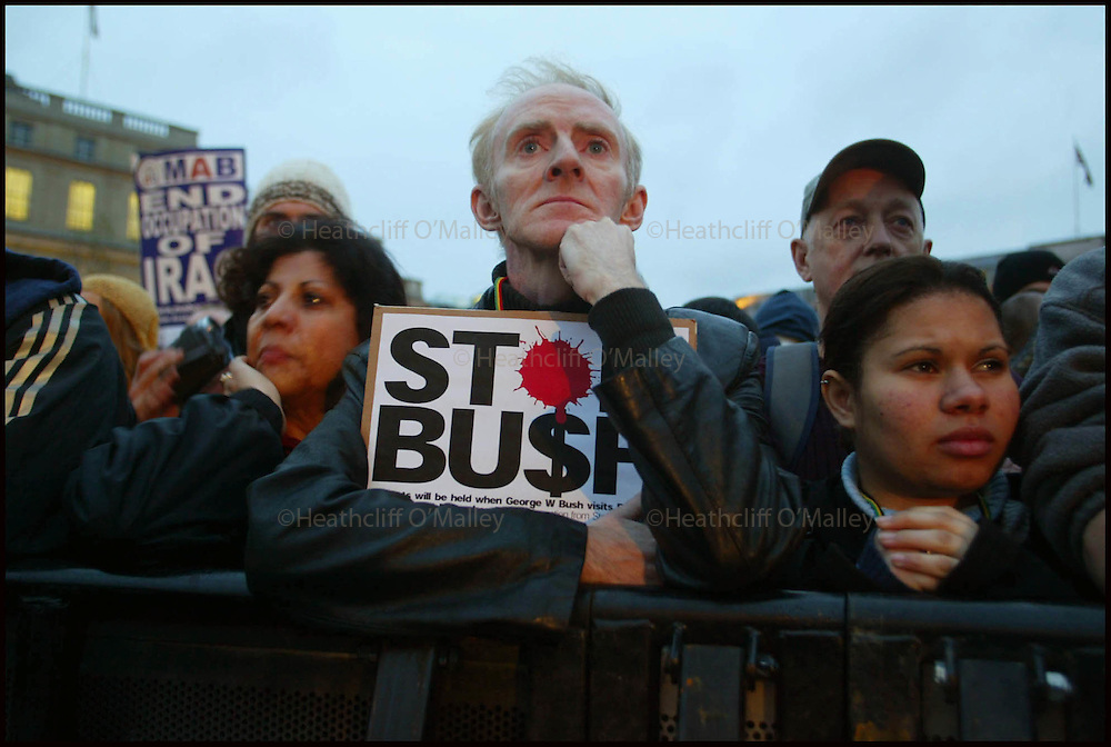 Pic by Heathcliff O'malley.Protestors at the anti George Bush rally in Trafalgar square today which organisers claim numbered in the hundreds of thousands on the third day of the U.S President's controversial visit.