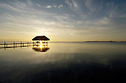 Thatched hut on Carribean sea, Placencia, Belize