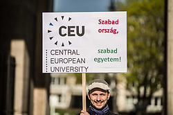 April 14, 2018 - Munich, Bavaria, Germany - Supporters of George Soros' Central European University in Budapest were in attendance.  The embattled university is in the direct line of Viktor Orban's alleged assaults on democracy. On April 14, 2018, Munich held its second March for Science event, with the event beginning at Koenigsplatz and ending at the famed Marienplatz.  The March for Science originally began as a subreddit thread that was a response to the Trump Administration removing the Climate Change page from government sites.  Eventually, a global, pro-science movement was grounded, with 230 cities worldwide participating this year.  The Munich organization team is composed primarily of American expatriates and not only focuses on science and knowledge, but fact-based politics.  Several hundred were in attendance. (Credit Image: © Sachelle Babbar via ZUMA Wire)
