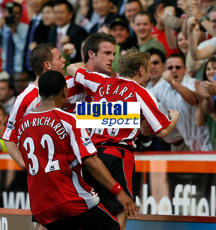 Photo: Paul Greenwood.<br />Sheffield United v West Ham United. The Barclays Premiership. 14/04/2007.<br />Sheffield's Derek Geary (R) and Michael Tonge (C) celebrate with teammates and fans