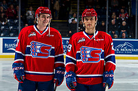 KELOWNA, CANADA - MARCH 13: Nolan Reid #7 and Eli Zummack #29 of the Spokane Chiefs line up against the Kelowna Rockets  on March 13, 2019 at Prospera Place in Kelowna, British Columbia, Canada.  (Photo by Marissa Baecker/Shoot the Breeze)