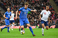 Italy Defender Daniele Rugani (15) is put under pressure by England Midfielder Raheem Sterling (10) during the Friendly match between England and Italy at Wembley Stadium, London, England on 27 March 2018. Picture by Stephen Wright.