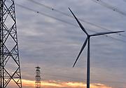 Nederland, the Netherlands, Nijmegen, 6-2-2018Windmolen met hoogspanningsmast .Foto: Flip Franssen