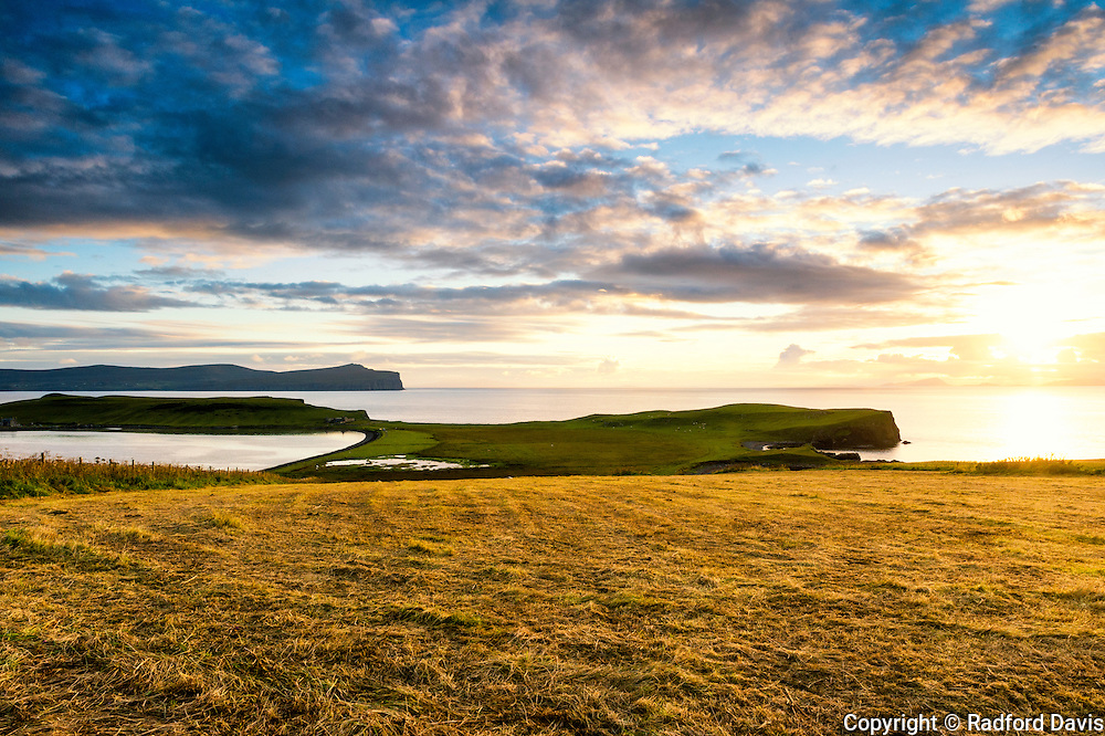 Sunset looking out to Dunvegan Point, Isle of Skye, Scotland.