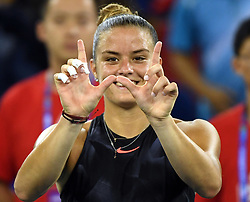 WUHAN, Sept. 28, 2017 Maria Sakkari of Greece poses after winning the singles quarterfinal match against Alize Cornet of France at 2017 WTA Wuhan Open in Wuhan, capital of central China's Hubei Province, on Sept. 28, 2017. Maria Sakkari won 2-0.  wll) (Credit Image: © Cheng Min/Xinhua via ZUMA Wire)
