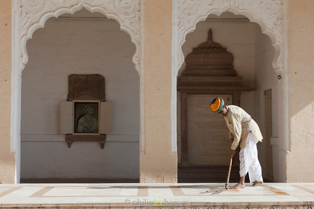 Groundsman in Mehrangarh Fort in the city of Jodhpur, Rajasthan, India
