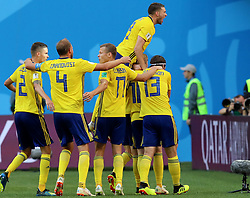 July 3, 2018 - Saint Petersburg, Russia - Players of Sweden celebrate Emil Forsberg's goal during the 2018 FIFA World Cup round of 16 match between Switzerland and Sweden in Saint Petersburg, Russia, July 3, 2018. (Credit Image: © Yang Lei/Xinhua via ZUMA Wire)