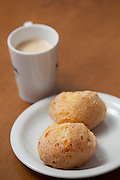 Belo Horizonte_MG. Brasil.<br /> <br /> Pao de queijo com cafe com leite.<br /> <br /> Pao de queijo (typical food in Minas Gerais) and milk with coffee<br /> <br /> Foto: RODRIGO LIMA / NITRO