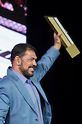 """LAS VEGAS, NV - JULY 10:  Antonio Rodrigo """"Minotauro"""" Nogueira speaks as he is inducted into the UFC Hall of Fame at the Las Vegas Convention Center on July 10, 2016 in Las Vegas, Nevada. (Photo by Cooper Neill/Zuffa LLC/Zuffa LLC via Getty Images) *** Local Caption *** Antonio Rodrigo """"Minotauro"""" Nogueira"""