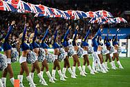 LA Rams cheerleaders during the International Series match between Los Angeles Rams and Cincinnati Bengals at Wembley Stadium, London, England on 27 October 2019.