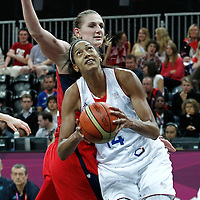 07 August 2012: France Emmeline Ndongue goes to the basket during 71-68 Team France victory over Team Czech Republic, during the women's basketball quarter-finals, at the Basketball Arena, in London, Great Britain.