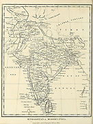 18th Century ancient map of Hindoostan [Hindustan] or Modern India and the Indian subcontinent. Copperplate engraving From the Encyclopaedia Londinensis or, Universal dictionary of arts, sciences, and literature; Volume X;  Edited by Wilkes, John. Published in London in 1811