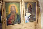 Religious pictures inside Greek orthodox church, Kastrou Monolithos, Rhodes, Greece