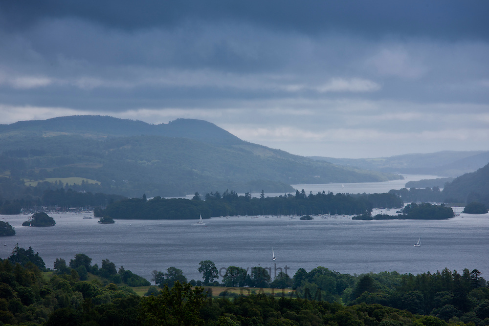 Yachts on northern part of Lake Windermere in the Lake District National Park from Troutbeck, Cumbria, UK
