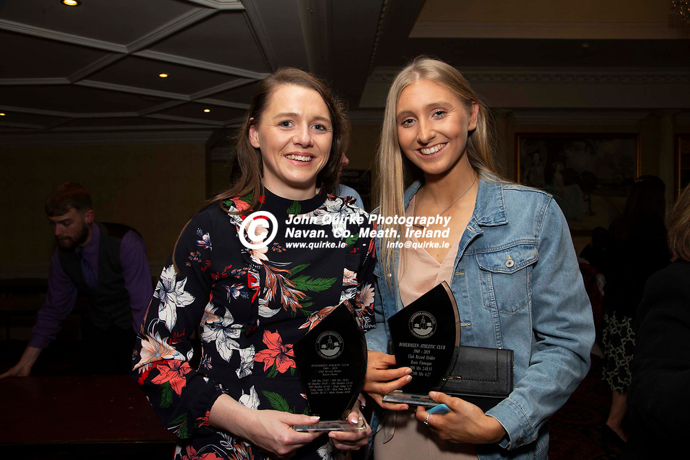 27/10/2019, Bohermeen Athletic Club 50th Anniversary celebration at the Ardboyne Hotel, Navan.<br /> Pictured at the Bohermeen Athletic Club 50th Anniversary celebration, L-R, Karen Dunne & Rose Finnegan<br /> Photo: David Mullen / www.quirke.ie ©John Quirke Photography, Unit 17, Blackcastle Shopping Cte. Navan. Co. Meath. 046-9079044 / 087-2579454.<br /> ISO: 400; Shutter: 1/200; Aperture: 6.3; <br /> File Size: 3.0MB
