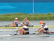Eton Dorney, Windsor, Great Britain,<br /> <br /> 2012 London Olympic Regatta, Dorney Lake. Eton Rowing Centre, Berkshire[ Rowing].<br /> <br /> Description; Women's Pairs,  Gold Medalist Helen GLOVER and Heather STANNING. GBR W2-   Dorney Lake.<br /> <br /> 11:57:31  Wednesday  01/08/2012<br /> <br /> [Mandatory Credit: Peter Spurrier/Intersport Images]
