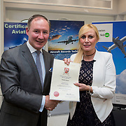 24.05.2018.       <br /> The Limerick Institute of Technology with Atlantic Air Adventures and funding from the Aviation Skillnet presented over forty certificates to Aviation professionals who have completed the Certificate in Aviation, The Aircraft Records Technician Level 7 and Part 21 Design, Level 7.<br /> <br /> Pictured at the event was Jim Gavin, The Irish Aviation Authority and Manager of the Dublin Football Team who presented, Deirdre Neiland with their cert.<br /> <br /> LIT in partnership with Atlantic Air Adventures, CAE Parc Aviation, Part 21 Design and industry experts such as Anton Tams, GECAS, Don Salmon, CAE Parc Aviation and Mick Malone, Part 21 Design have developed and deliver these key training programmes with funding for aviation companies provided by The Aviation Skillnet.<br /> <br /> . Picture: Alan Place