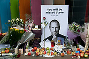 Apple store Regent street London. Memorial to Steve Jobs who died October 5th 2011.