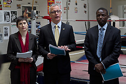 © Licensed to London News Pictures.10/04/2012. London, UK.  The Liberal Democrat mayoral candidate Brian Paddick (centre) launches his manifesto at the Pedro Youth Club in Homerton today (10/04) with Caroline Pidgeon (Left) and Duwayne Brooks (right) .Photo credit : James Gourley/LNP