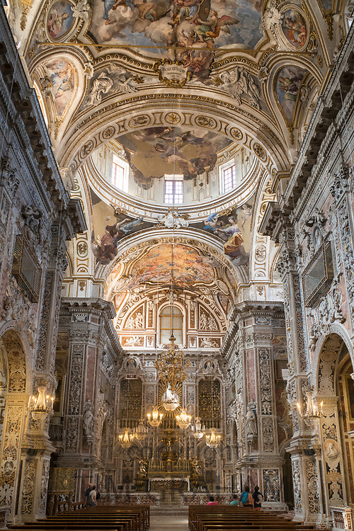 Marble statues, altar, ornate domes in Church of Saint Catherine (Santa Caterina) in Piazza Bellini Piazza Pretoria, Palermo, Sicily