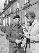 1983-04-12.12th April 1983.12-04-1983.04-12-83..Photographed at McKee Barracks, Cork..Speaking to Press..Lieutenant Commandant Patsy McHale talking to a reporter..