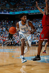 CHAPEL HILL, NC - FEBRUARY 25: Leaky Black #1 of the North Carolina Tar Heels plays during a game against the North Carolina State Wolfpack on February 25, 2020 at the Dean Smith Center in Chapel Hill, North Carolina. North Carolina won 79-85. (Photo by Peyton Williams/UNC/Getty Images) *** Local Caption *** Leaky Black