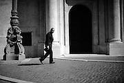 Il giornalista e conduttore televisivo Bruno Vespa entra a Montecitorio per assistere alle votazioni dell' undicesimo Presidente della Repubblica.<br /> Roma, 18 aprile 2013<br />  Daniele Stefanini/OneShot