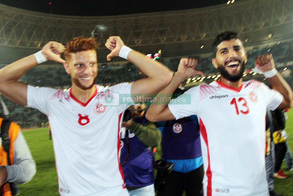 November 11, 2017 - Rades, Tunisia - Fakhreddine ben youssef(8) and Ferjani sassi(13)tunisians players celebrate qualifying at the Russian World .....Qualifying match for the 2018 FIFA Russia World Cup at Rades Stadium between Tunisia and Libya..Tunisia qualifies for the Russian world after a draw 0/0. (Credit Image: © Chokri Mahjoub via ZUMA Wire)