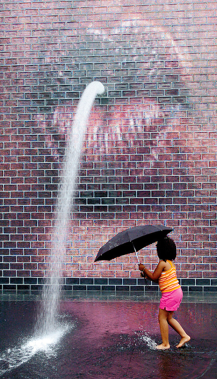 Opening weekend at Millennium Park Chicago, IL., in the Crown Fountain..