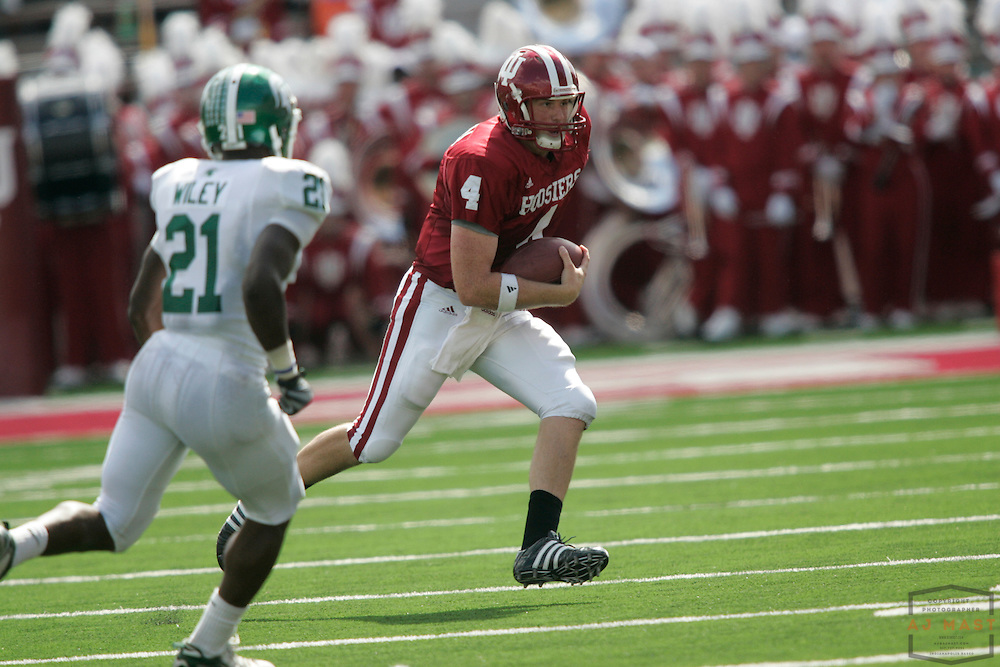 27 September 2008: Indiana quarterback Ben Chapell (4) as the Indiana Hoosiers played the Michigan State Spartans in a college football game in Bloomington, Ind....