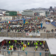 Fans arrive to the Wellington Stadium  for the Ireland V Wales Quarter Final match at the IRB Rugby World Cup tournament. Wellington Regional Stadium, Wellington, New Zealand, 8th October 2011. Photo Tim Clayton...