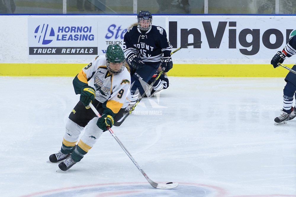 3rd year forward Emma Waldenberger (9) of the Regina Cougars in action during the Women's Hockey Homeopener on October 7 at Co-operators arena. Credit: Arthur Ward/Arthur Images