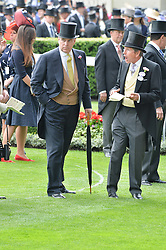 Left to right, HRH the DUKE OF YORK and JOHN WARREN at the 1st day of the Royal Ascot Racing Festival 2015 at Ascot Racecourse, Ascot, Berkshire on 16th June 2015.
