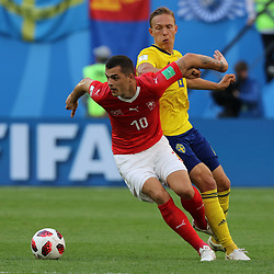 July 3, 2018 - Russia - July 03, 2018, St. Petersburg, FIFA World Cup 2018 Football, the playoff round. Football match of Sweden - Switzerland at the stadium of St. Petersburg. Player of the national team Granite Jaca. (Credit Image: © Russian Look via ZUMA Wire)