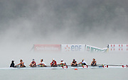 Aiguebelette, FRANCE, CAN W8+, Training in the misty condition at the 2015 FISA World Rowing Championships, Venue, Lake Aiguebelette - Savoie. <br /> <br /> Friday  04/09/2015  [Mandatory Credit. Peter SPURRIER/Intersport Images]. © Peter SPURRIER, Atmospheric, Rowing