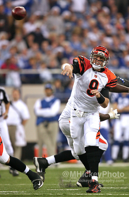 Cincinnati Bengals quarterback Carson Palmer gets a pass off during action against the Indianapolis Colts at the RCA Dome in Indianapolis, Indiana on December 18, 2006.