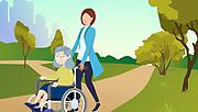 Caretaker and Senior Woman in a wheel chair
